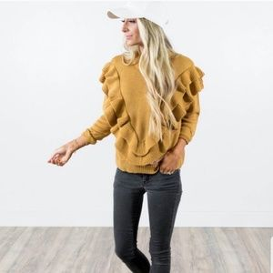 Stevie Hender mustard sweater. Size L. NWT.